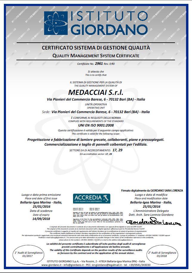 medacciai certificazione uni en iso 9001 2008