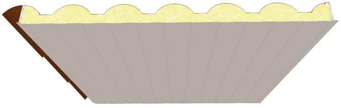 Pannello coibentato da copertura Coppo a forma di tegola interna