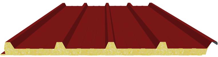 Pannello coibentato per copertura in poliuratano colore rosso siena