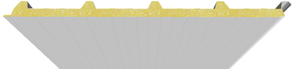 Pannello coibentato per copertura in poliuratano lato inferiore