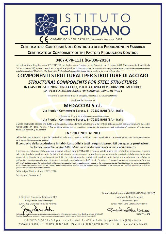 medacciai certificazione uni en 1090-1
