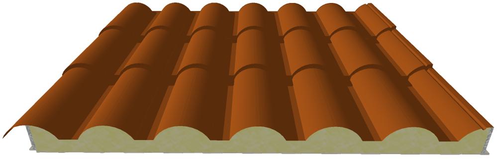 Pannello coibentato da copertura Coppo a forma di tegola
